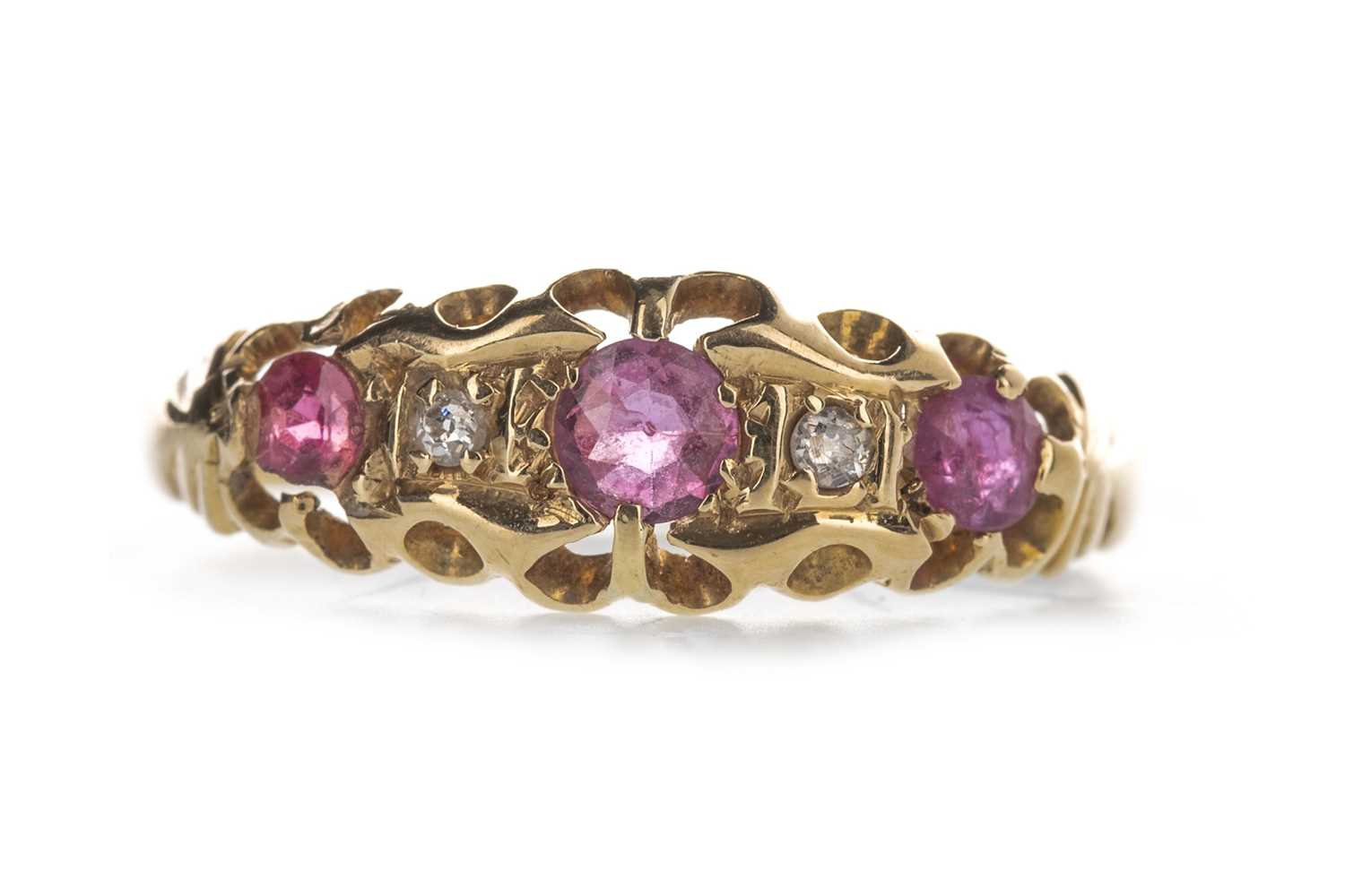 Lot 317-A RED GEM SET AND DIAMOND RING