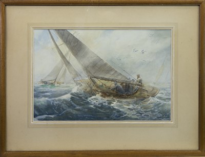 Lot 413-RACING ON THE CLYDE, 1930, A WATERCOLOUR BY ROBERT CRAIG WALLACE