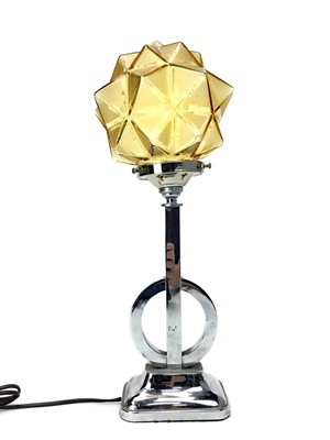 Lot 1327 - AN ART DECO CHROME TABLE LAMP WITH OPAQUE GLASS SHADE