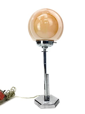 Lot 1328 - AN ART DECO CHROME TABLE LAMP WITH OPAQUE GLASS SHADE