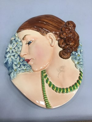 Lot 1002 - AN ART DECO WALL MASK MODELLED AS A FEMALE HEAD IN PROFILE