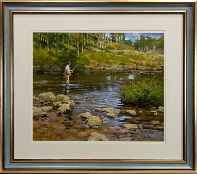 Lot 503-FLY FISHING, AN ACRYLIC BY JOHN HASKINS