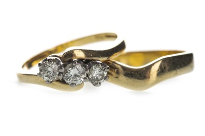 Lot 341-A DIAMOND THREE STONE RING AND A WEDDING BAND
