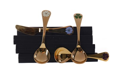 Lot 403 - A LOT OF THREE GEORG JENSEN SILVER GILT CHRISTMAS SPOONS AND A KNIFE