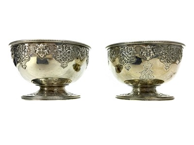 Lot 407 - A PAIR OF VICTORIAN SILVER CIRCULAR BOWLS
