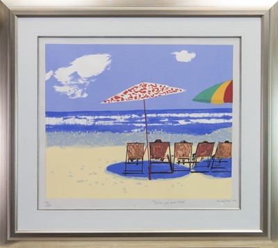 Lot 425-WISH YOU WERE HERE, A SILKSCREEN PRINT BY RUSKIN SPEAR