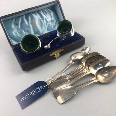 Lot 11-A PAIR OF SILVER CIRCULAR SALT DISHES AND SILVER SPOONS