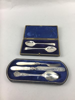 Lot 16-A VICTORIAN SILVER CHRISTENING SET, MANICURE SET AND JAM SPOONS