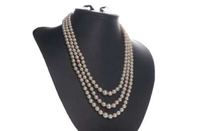 Lot 331-A THREE STRAND PEARL NECKLACE