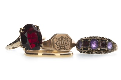 Lot 343-FOUR GOLD RINGS