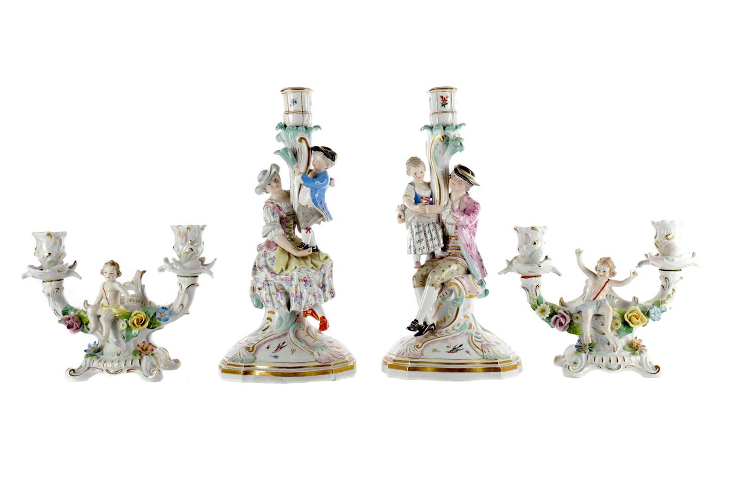 Lot 1010 - A PAIR OF 19TH CENTURY MEISSEN FIGURAL TABLE CANDLESTICKS