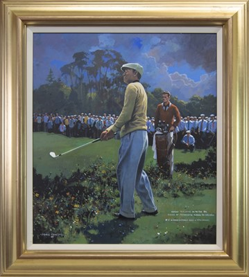 Lot 225 - HOGAN PITCHING TO THE 6TH GREEN AT CARNOUSTIE DURING 1953 OPEN, AN OIL BY CRAIG CAMPBELL