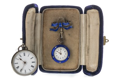Lot 730-A LADY'S ENAMEL FOB WATCH AND ANOTHER SILVER FOB WATCH
