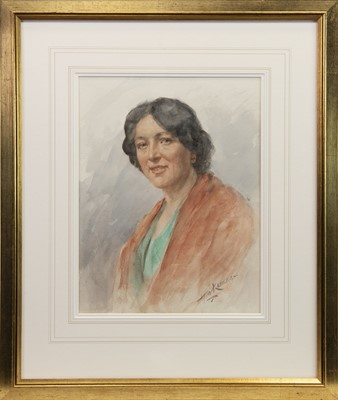 Lot 418-PORTRAIT OF A LADY, A WATERCOLOUR BY HENRY WRIGHT KERR