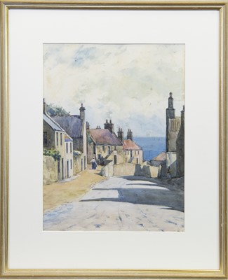 Lot 419-EAST COAST VILLAGE SCENE, A WATERCOLOUR