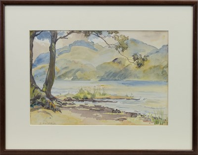 Lot 420-LANDSCAPE WITH LOCH, A WATERCOLOUR BY ISOBEL HOTCHKIS