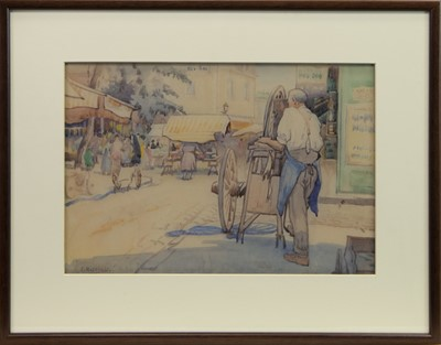 Lot 421-BUSY STREET SCENE, A WATERCOLOUR BY ISOBEL HOTCHKIS