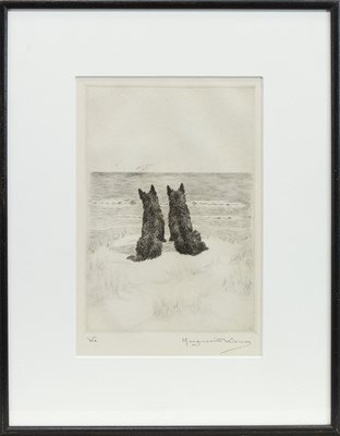 Lot 422-TWO DOGS BY THE SHORE, AN ETCHING BY MARGUERITE LOUISA KIRMSE