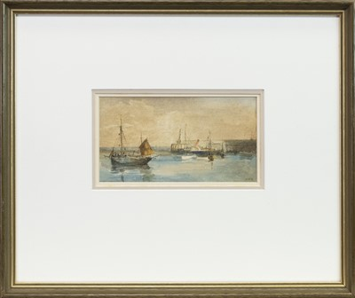 Lot 423-EAST COAST HARBOUR, A WATERCOLOUR BT. SIR WILLIAM FETTES DOUGLAS