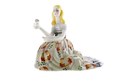 Lot 1009 - A LENCI POTTERY FIGURE OF A GIRL WITH A DOVE