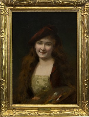 Lot 70-A FRENCH LADY, AN OIL BY ANGELO ASTI