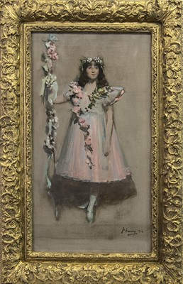 Lot 23 - THE GARLANDED BALLERINA, AN OIL BY SIR JOHN LAVERY
