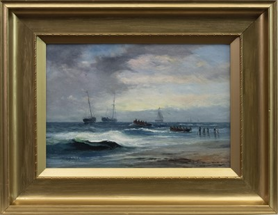 Lot 50 - LOADING THE BOATS, AN OIL BY SAM BOUGH