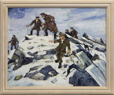 Lot 8 - FARMERS AND THEIR DOGS ON A HILL IN WINTER, AN OIL, FOLLOWER OF SIR KYFFIN WILLIAMS