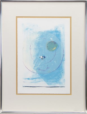 Lot 56 - PLUM AND QUAILS EGG ON A PLATE, EVENING, A LITHOGRAPH BY CHLOE CHEESE