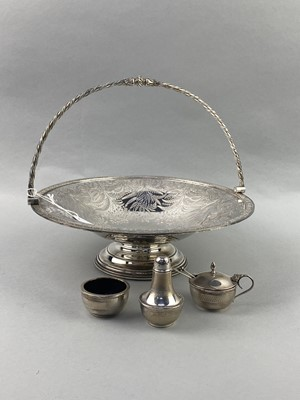 Lot 14-A LOT OF SILVER CRUETS AND A SILVER PLATED COMPORT
