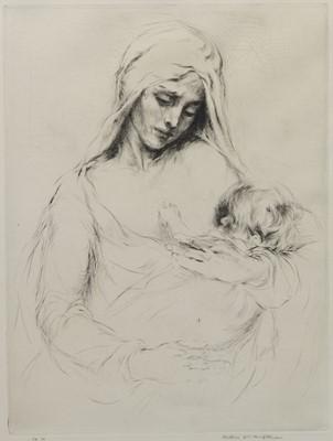 Lot 90 - LA VIERGE ET L'ENFANT JESUS, AN ETCHING BY ARTHUR WILLIAM HEINTZELMAN