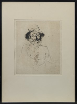 Lot 80 - MONTAGNARD DE LA HAUTE SAVOIRE, 1929, AN ETCHING BY ARTHUR WILLIAM HEINTZELMAN