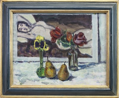 Lot 106 - STILL LIFE WITH A PAINTING, AN OIL BY JOHN MILLER