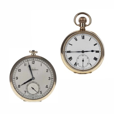 Lot 1727 - JIMMY MCMENEMY - HIS TAVANNES OPEN FACE POCKET WATCH AND ANOTHER