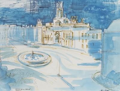 Lot 75 - PLAZA DEL LA CIBELES, MADRID, A WATERCOLOUR BY ARCHIBALD PEDDIE