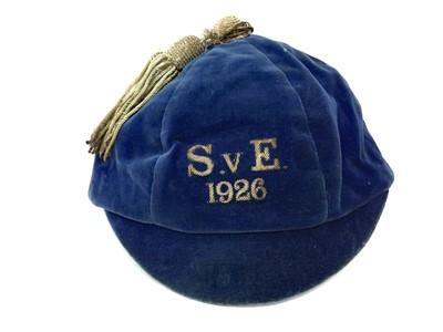 Lot 1729 - A SCOTLAND V ENGLAND INTERNATIONAL FOOTBALL CAP 1926