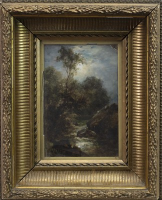 Lot 81 - LANDSCAPE WITH ROCKY RIVER, AN OIL BY POLLOCK SINCLAIR NISBET