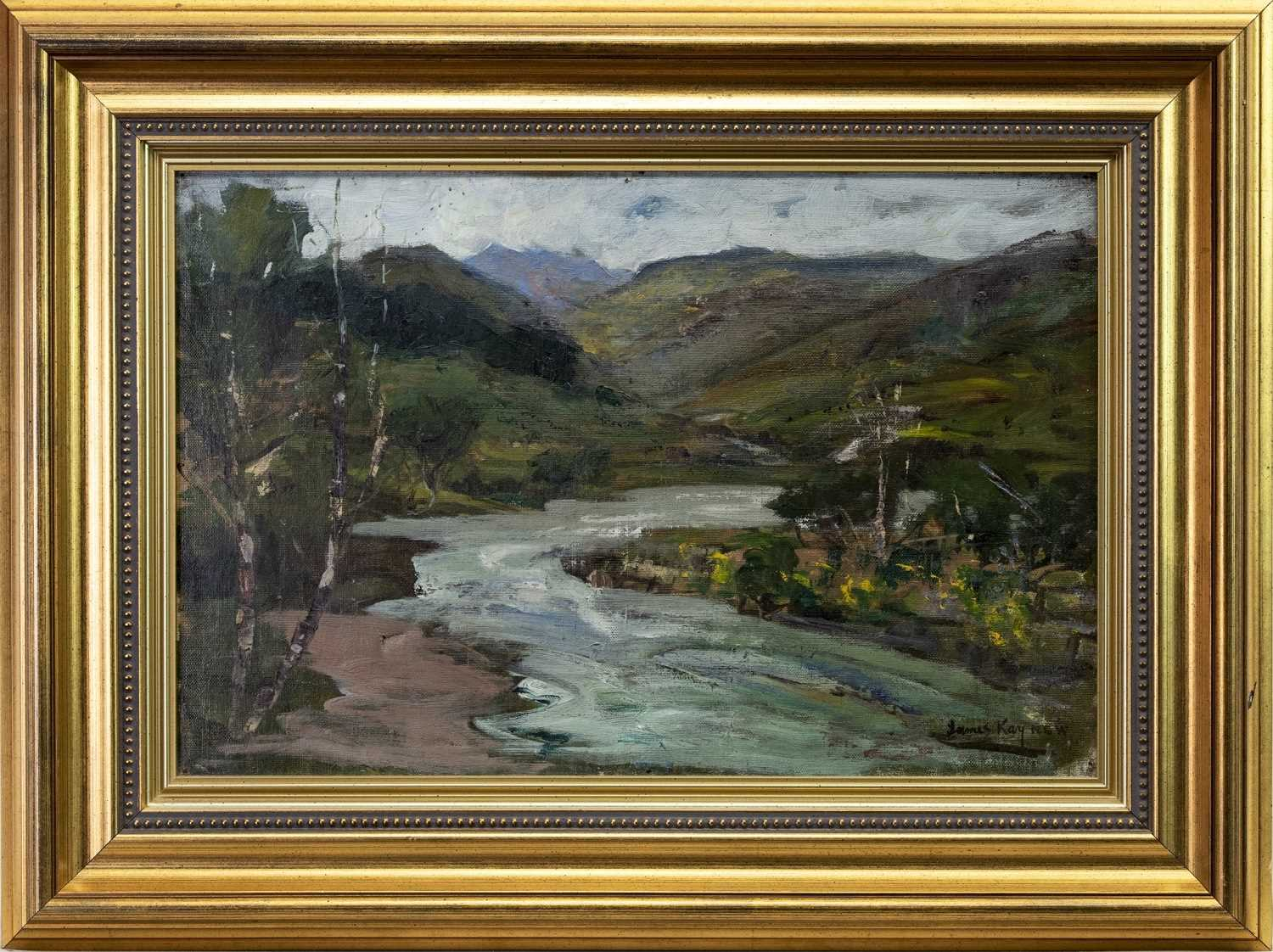 Lot 84 - RIVER LANDSCAPE, AN OIL BY JAMES KAY