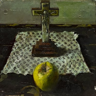 Lot 525-STILL LIFE WITH AN APPLE, AN OIL BY FRED GRAY