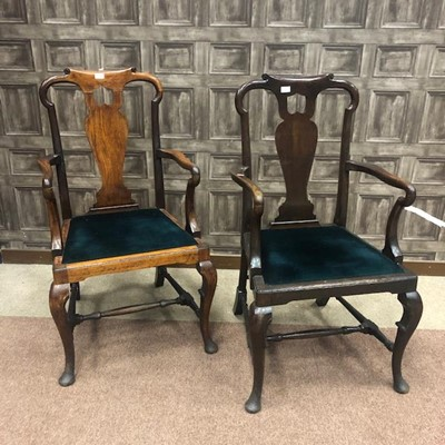 Lot 1361 - A PAIR OF OPEN ELBOW CHAIRS OF QUEEN ANNE DESIGN