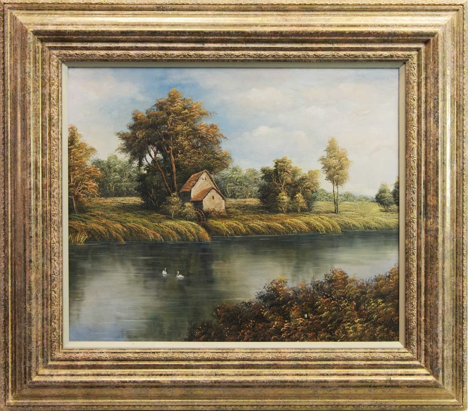 Lot 47 - SWANS ON THE RIVER, AN OIL ON CANVAS