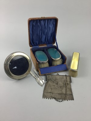 Lot 15-A SILVER PHOTOGRAPH FRAME, SILVER BACKED BRUSHES AND OTHER ITEMS