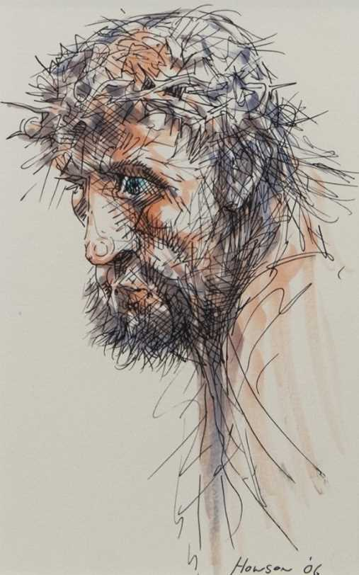 Lot 102 - MAN OF SORROW, A MIXED MEDIA BY PETER HOWSON