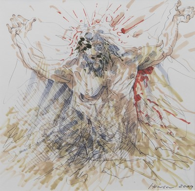 Lot 99 - UNTITLED, A MIXED MEDIA BY PETER HOWSON
