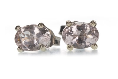 Lot 1304 - A PAIR OF MORGANITE STUD EARRINGS