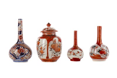 Lot 763 - A LOT OF JAPANESE KUTANI AND IMARI VASES AND JAR