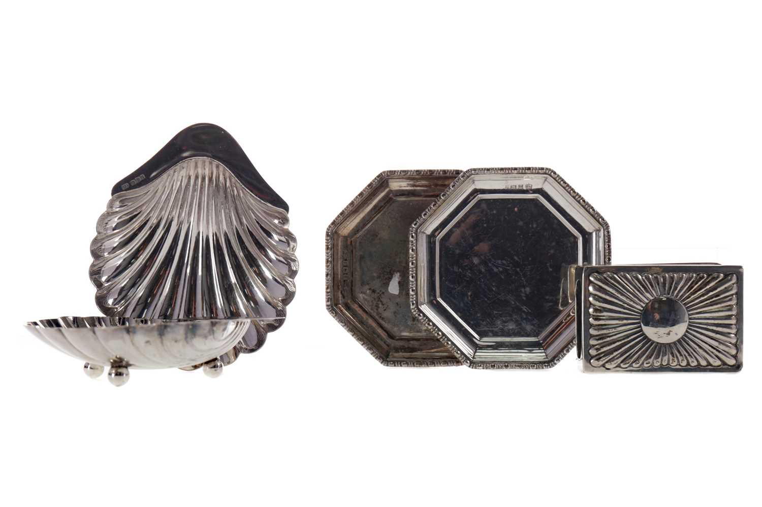Lot 451 - A PAIR OF SILVER BUTTER DISHES, A VEST CASE HOLDER AND ANOTHER PAIR OF DISHES