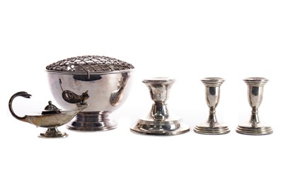 Lot 452 - A PAIR OF SILVER CANDLESTICKS, ANOTHER CANDLETSICK AND OTHER ITEMS