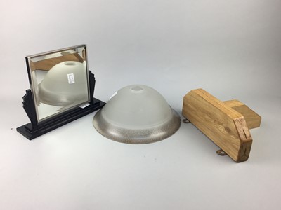 Lot 14-AN ART DECO STYLE DRESSING MIRROR, WALL BRACKET AND A LIGHT SHADE