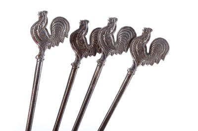Lot 447 - A SET OF SIX SILVER STICK PINS